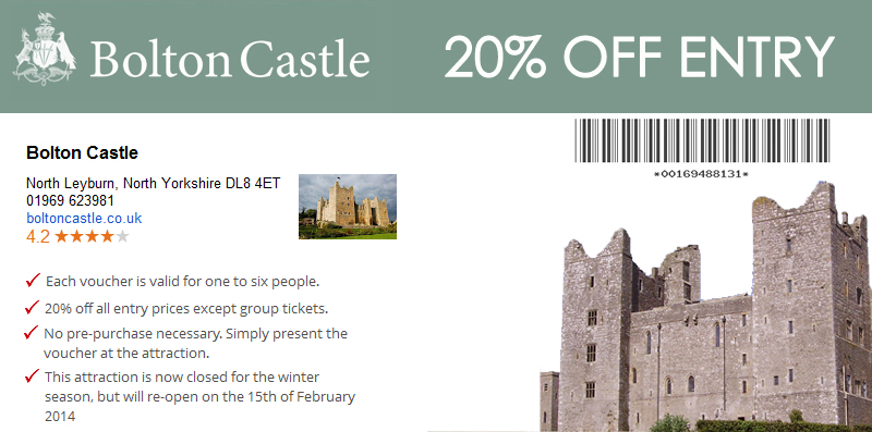 20% OFF AT Bolton Castle