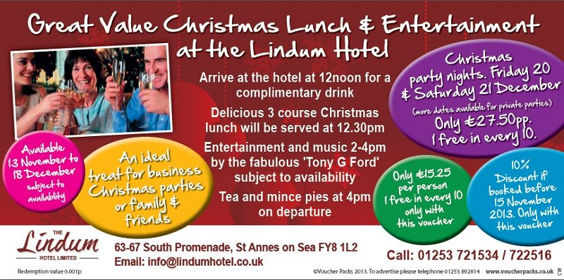 Great Value Christmas Lunch & Entertainment at the Lindum Hotel